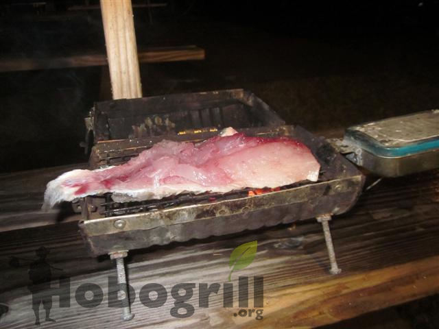 Grilling Sheepshead Fish On A Homemade Grill
